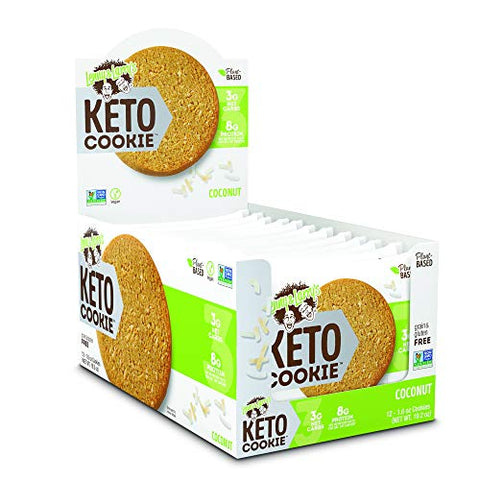 Lenny & Larry's Keto Cookie, Coconut, Soft Baked, 8g Plant Protein, 3g Net Carbs, Vegan, Non-GMO, 1.6 Ounce Cookie (Pack of 12)