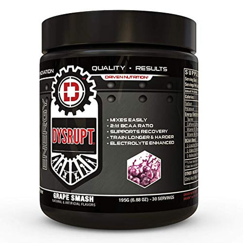 DYSRUPT: BCAA + Caffeine with Electrolytes: Sugar & Gluten Free Supplement- Improve Recovery, Burn More Fat, Increase Endurance, and Achieve Greater Focus (Grape Smash)