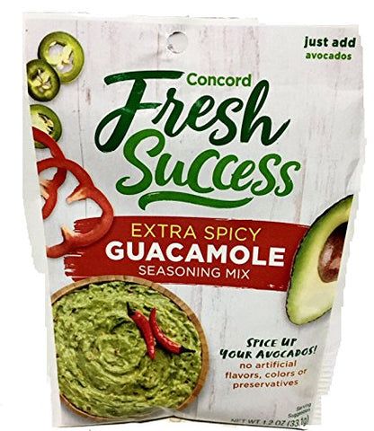 Concord Foods Extra Spicy Guacamole Mix, 1.2-ounce Pouches (VALUE Pack of 12 Pouches)