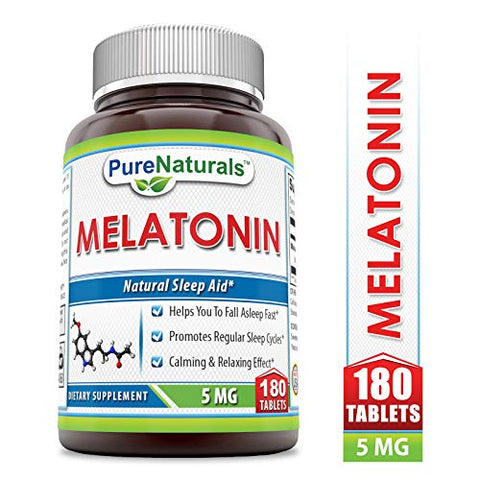 Pure Naturals Melatonin, 5 Mg, 180 Count
