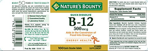 Nature's Bounty Vitamin B12 Supplement, Supports Metabolism and Nervous System Health, 500mcg, 100 Count