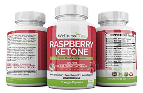 Raspberry Ketones Max Strength 1600mg - Natural Weight Management - Potent, Premium Ingredients Boost Energy & Metabolism (3 Pack)