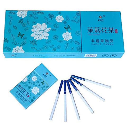 HUWOYMX Green Tea Menthol Cigarettes, Peony Jasmine?Chinese Herbal Cigarettes are Smoke-Free, Nicotine-Free, A Substitute for Cigarettes That Can Clean The Lungs (5 Packs,Jasmine Tea)
