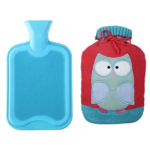 Premium Classic Rubber Hot Water Bottle w/Cute Knit Cover (2 Liter, Blue/Red with Owl)
