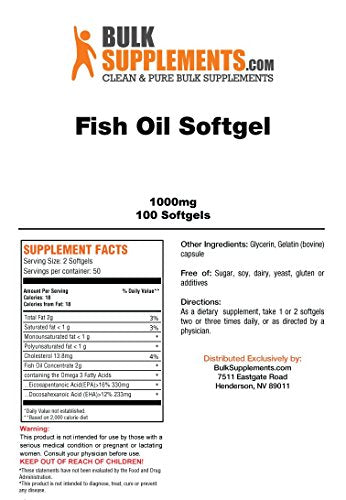 BulkSupplements Fish Oil Softgels - 1000mg (100 Softgels)