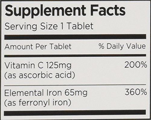 Vitron C High Potency Iron Supplement With Vitamin C, Boosts Energy, 60 Count