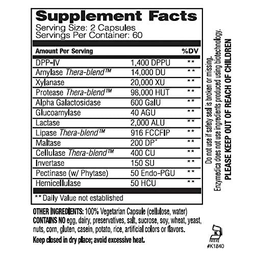 Enzymedica, Digest Spectrum, Dietary Supplement to Support Digestive Relief from Food Intolerances, Vegan, Gluten Free, Non-GMO, 120 Capsules (60 Servings) (FFP)