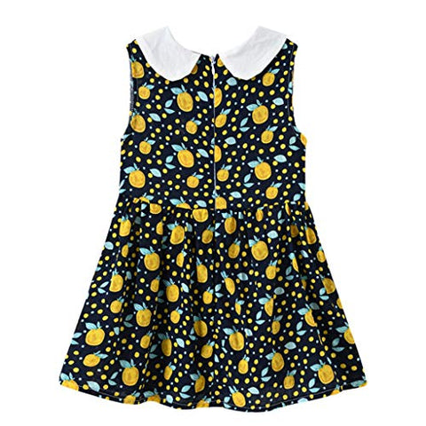 heavKin-Clothes 2-7Y Toddler Kids Girls Beach Skirt Doll Collar Sleeveless Floral Casual Holiday Style Dress (Black, 6-7 Years)