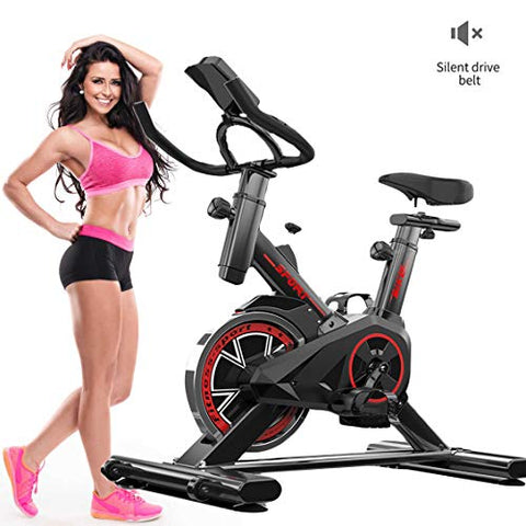 Indoor Cycling Bike, Silent Spinning Bike Silent Belt Drive Cycle Bike with Adjustable Handlebars & Seat, Chromed Flywheel, 7-Function Monitor, Fitness Bike and Ab Trainer