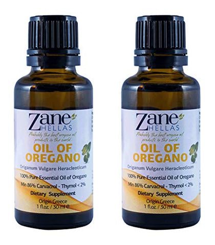 Zane Hellas 100% Undiluted Oregano Oil. Pure Greek Wild Essential Oil of Oregano .86% Min Carvacrol. 129 mg Carvacrol Per Serving. Probably The Best Oregano Oil in The World.2fl. oz. -60 ml (Pack 2)