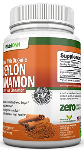 Organic Ceylon Cinnamon - 1200mg - 120 Capsules - True Cinnamon - Powerful Antioxidant - Helps Balance Blood Sugar - Has Immunity Boosting and Heart Protecting Abilities - Supports Joints and Bones