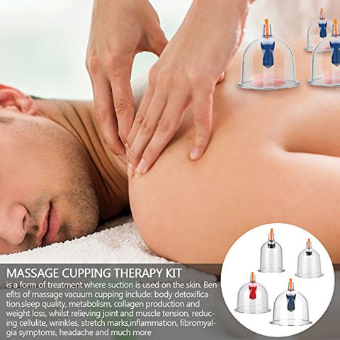 Massage Vacuum Cup, 24pcs Cups Chinese Vacuum Cupping Set Massage Therapy Suction Acupuncture for Back Neck Muscles for Relief Pain Injury Recovery Toning Beauty Care
