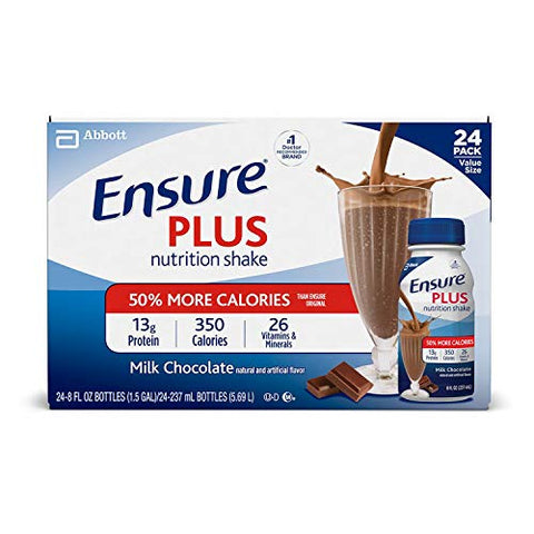 Ensure Plus Creamy Milk Chocolate Shake - 24 x 8 Ounce Bottles
