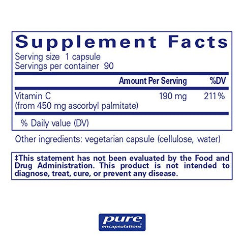 Pure Encapsulations - Ascorbyl Palmitate - Hypoallergenic Fat-Soluble Vitamin C Supplement - 90 Capsules