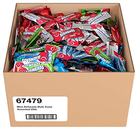 Airheads Candy Mini Bars, Assorted Flavors, Individually Wrapped Bulk Box, Non Melting, Party, 25 Pounds