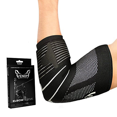 Venom Strapped Elbow Brace Compression Sleeve - Elastic Support, Tendonitis Pain, Tennis Elbow, Golfer's Elbow, Arthritis, Bursitis, Basketball, Baseball, Golf, Lifting, Sports, Men, Women (XL)