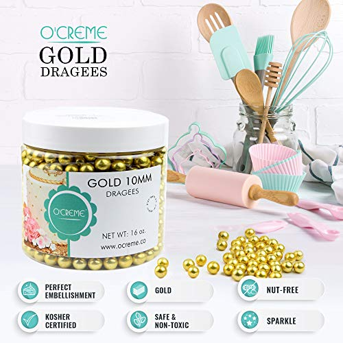 O'Creme Gold Dragees Cake Decorating Supplies for Bakers: Cookie, Cupcake & Icing Toppings, Bright Metallic Sphere Sprinkles Decoration, Certified, Decorating Sugar Ball Accents (10mm, 32 oz)