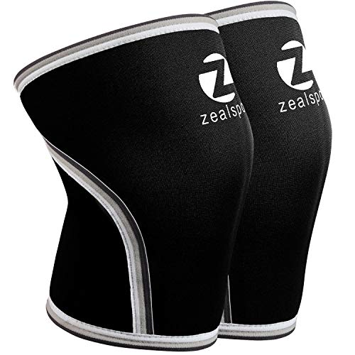 ZEALSPOT Knee Sleeves(1 Pair) Compression & Support for Weightlifting, WOD, Squats, Gym, Powerlifting & Crossfit-7mm Neoprene Knee Brace-Both Women & Men,Black