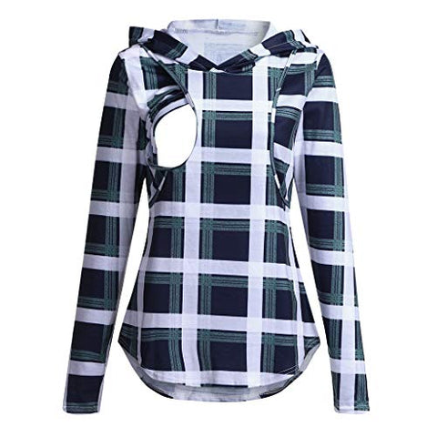 Women's Maternity Notch Neck Plaid Breastfeeding T-Shirt Long Sleeve Casual Pregnancy Clothes Tops(S-3XL) (S, Green)