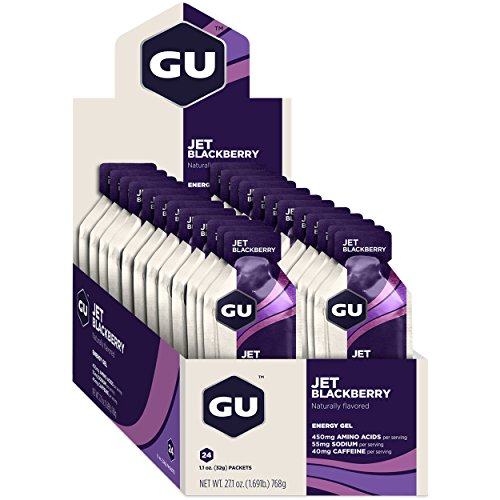 GU Energy Original Sports Nutrition Energy Gel, Jet Blackberry, 24 Count Box
