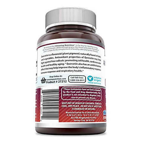 Amazing Formulas - Quercetin 500 Mg, 60 Vegetarian Capsules * Supports Cardiovascular Health, Helps Improve Anti-Inflammatory & Immune Response, Supports Healthy Ageing and Overall Well-Being *