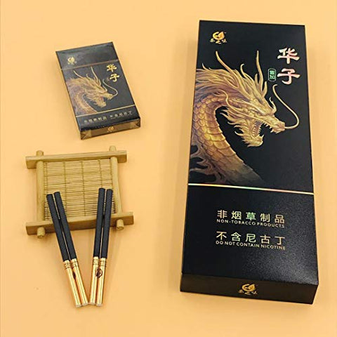 Green Tea Herbal Cigarettes Peony Tea Smoke, Chinese Herbal Cigarettes Smoke-Free and Nicotine-Free, Cigarette Substitutes (Huazi (Delicate and Fragrant Taste),5 Packs)
