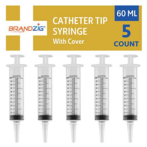 60ml Catheter Tip Syringe with Cover 5 Pieces by Brandzig - FDA Approved & Sterile Disposable Medical Grade Syringe for Precise Medication Dispensing