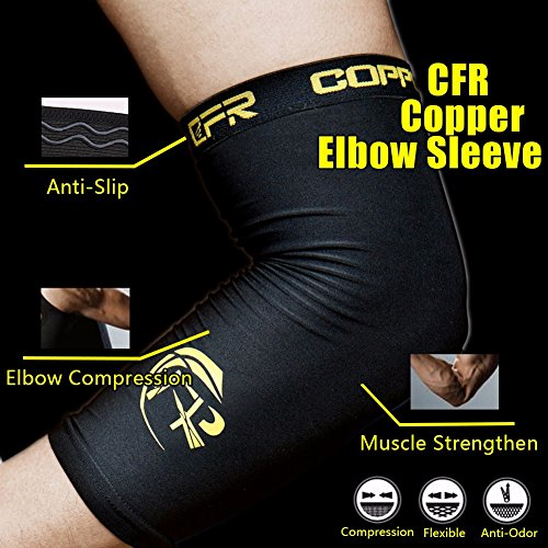 CFR Elbow Compression Support Sleeve - High Copper Content Elbow Braces for Workouts Tennis Arthritis Tendonitis True Fit One Piece,L UPS Post