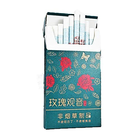 HUWOYMX Green Tea Herbal Cigarettes Peony Tea Smoke, Chinese Herbal Cigarettes Smoke-Free and Nicotine-Free, Cigarette Substitutes That Can Clean The Lungs (10 Packs,Rose Tea)