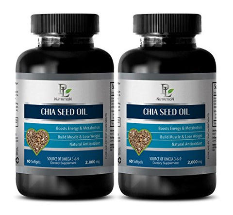 Brain Enhancement Pills - CHIA Seed Oil - Boost Metabolism Pills - 2 Bottle 120 Softgels