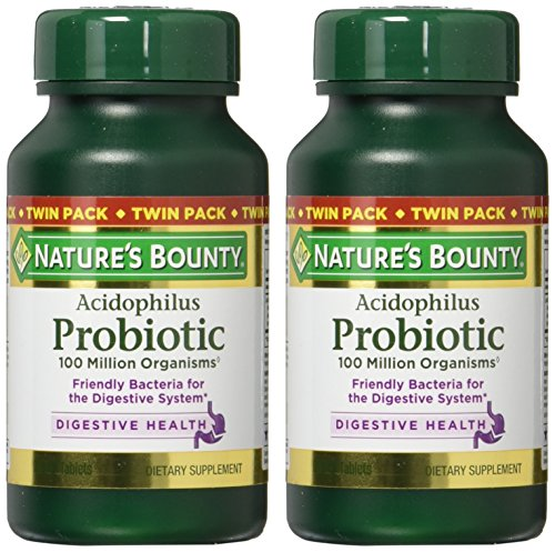 Nature's Bounty Probiotics Dietary Supplement, Supports Digestive and Intestinal Health, Probiotic Acidophilus, 100 Count (Pack of 2)