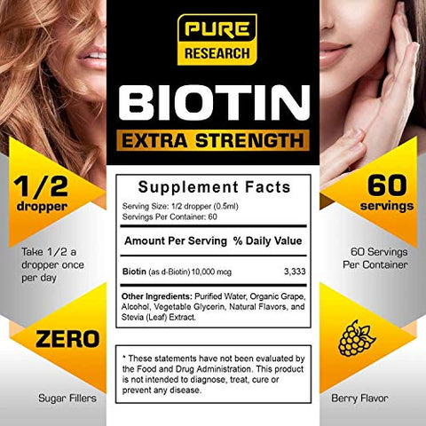 Extra Strength 10000mcg Biotin Liquid Drops, 60 Servings, Vegan Friendly, Supports Healthy Hair Growth, Strong Nails and Glowing Skin, 3X More Absorption Than Capsules or Pills