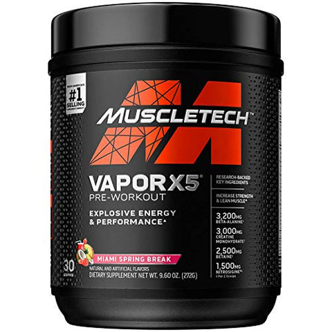 Pre Workout Powder MuscleTech Vapor X5 Preworkout Powder for Men & Women w/Creatine Monohydrate & Beta Alanine for Energy & Strength Miami Spring Break, 30 Servings (Package May Vary)