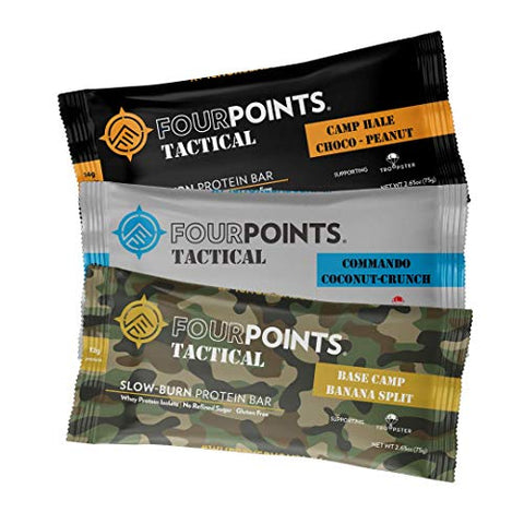 Fourpoints Tactical Bar Sampler Pack, High Protein, Gluten Free, Meal Replacement, 300 Calories, (2.65oz Bars, Box of 3)