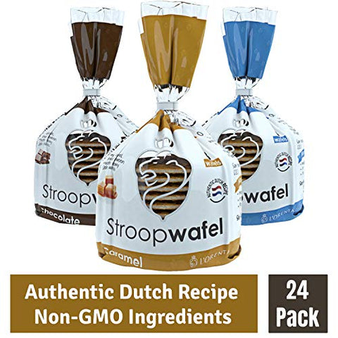 L'Orenta Stroopwafels 8-Count Bag - Caramel, Chocolate & Vanilla Wafer Cookies - Authentic Dutch Recipe - Non GMO - Made By Dutch Bakers - No Artificial Sweeteners (Variety, 8 Count - 3 Bags)