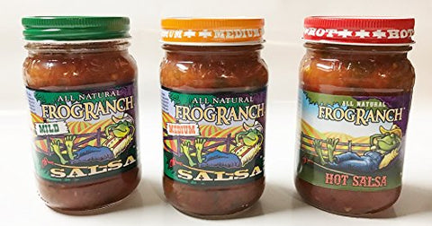 Frog Ranch Hot, Medium & Mild All Natural Salsa 16 oz. (Pack of 3)