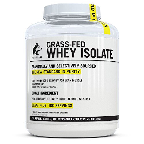 Verum Labs Grass Fed Whey Protein Isolate: Undenatured And Cold Processed, 0g Fat, 1g Carbs, 5lb, No