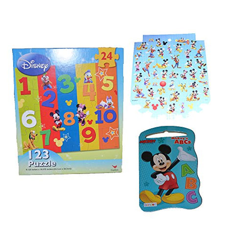 Disney Mickey Mouse Book, or Minnie Mouse Book G Bundled with Mickey and Friends Learning Puzzle ,1 Sheet with 42 Mickey Mouse Clubhouse Stickers (ABC/Color Book)