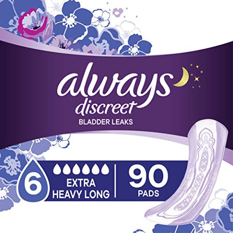 Always Discreet Incontinence Pads, Extra Heavy Long, 90 Count (45 Count, Pack of 2 - 90 Count Total)