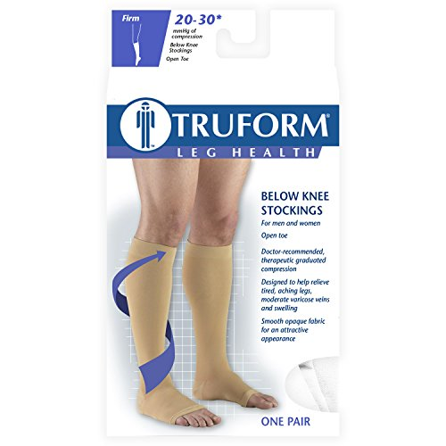 Truform 20 30 Mm Hg Compression Stocking For Men And Women, Knee High Length, Open Toe, White, Xxx La