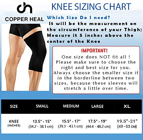 COPPER HEAL Knee Compression Sleeve Recovery Knee Brace Guaranteed with Highest Copper Infused Content to Support Stiff Sore Muscles and Joints Meniscus Tear & Patella Stabilizer Strap