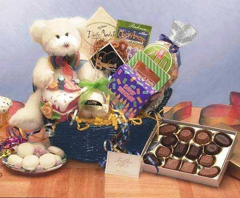 Happy Birthday! Gourmet Happy Birthday Gift Basket with Bear Teddy
