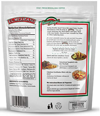 El Mexicano Minced/Textured Vegetable Protein 16 oz Soy Meat