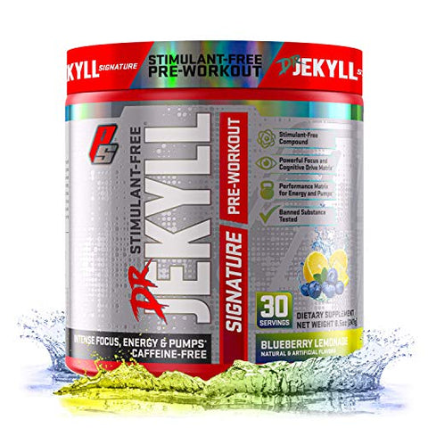 Dr. Jekyll Signature Pre-Workout Powder, Stimulant & Caffeine Free, Keto Friendly, Intense Focus, Energy & Pumps, 30 Servings (Blueberry Lemonade)