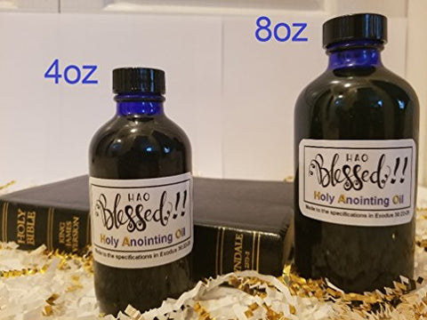 Holy Anointing Oil - Exodus 30:22-25 Specifications (Myrrh, Calamus, Cinnamon, Cassia, Olive Oil (4oz)