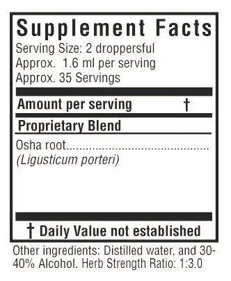 Sunflower Botanicals OSHA Root Extract 2 oz. Glass Bottle, Dropper-Top, Vegan and Non-GMO, Optimally Concentrated
