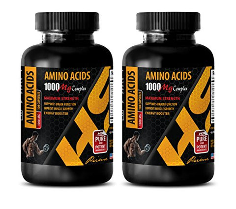 pre Workout for Men Amino - Amino ACIDS 1000 mg Complex - Extra Strength - l-leucine Supplement - 2 Bottles 200 Capsules