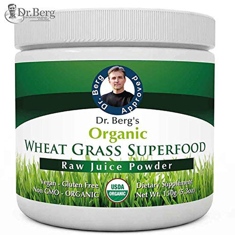 Dr. Berg's Wheat Grass Superfood Powder   Raw Juice Organic Ultra Concentrated Rich In Vitamins & Nu