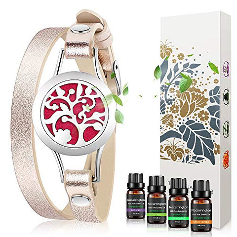 Birthday Gifts for Women - Essential Oil Bracelets Aromatherapy Diffuser Bracelet with Lavender, Sweet Orange, Peppermint,Tea tree Set Jewelry for Women,Mother at Christmas Gifts for Women Mom