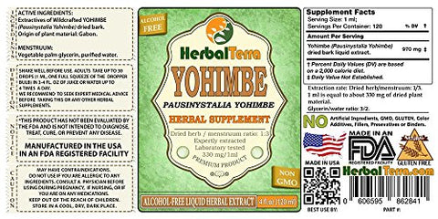 Yohimbe (Pausinystalia Yohimbe) Glycerite, Dried Bark Alcohol-Free Liquid Extract 2 oz